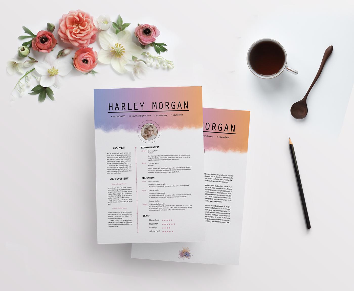 Colour CV Resume Template, Cover letter on Behance