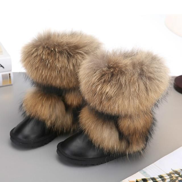 Fox Fur Mid calf Warm Boots F028 in 2020 | Snow boots women