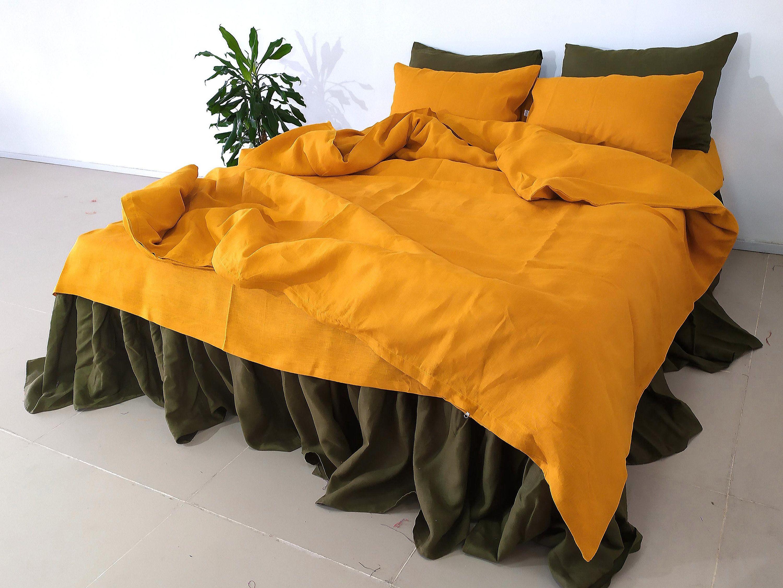 Linen BEDDING SET in Saffron. Duvet Cover set, Sheets set