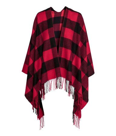 079d01dc010a Red and black checked poncho with fringed hem.   Warm in H M   H M ...