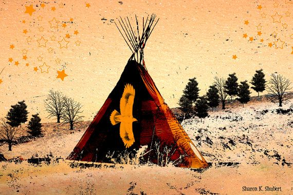Tipi Native American Tribal Art Wall Hanging by GrayWolfGallery ...