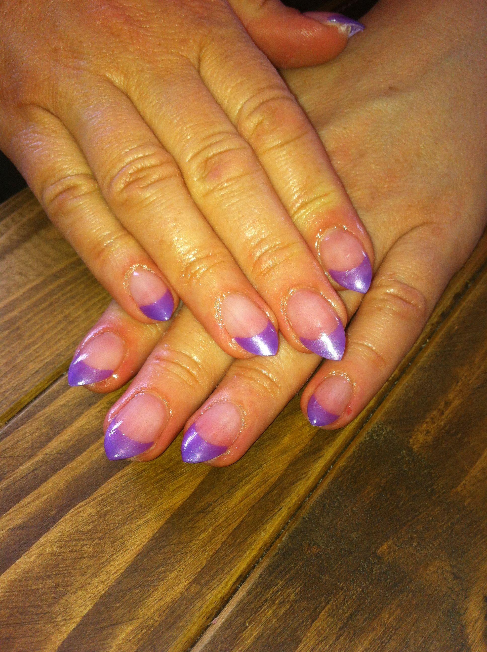 Purple short stiletto tip acrylic nails | Inspiring Ideas ...