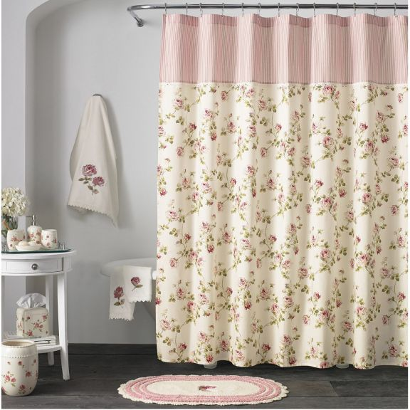 J Queen New York Rosalie Pink Fabric Shower Curtain Floral