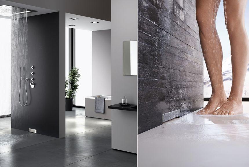 Hightech im Badezimmer mit Geberit Wandablauf für Duschen - badezimmer mit dusche