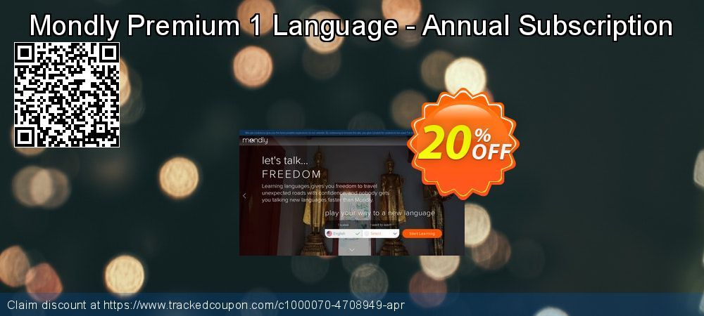 Mondly Premium 1 Language - Annual Subscription Coupon 20% discount