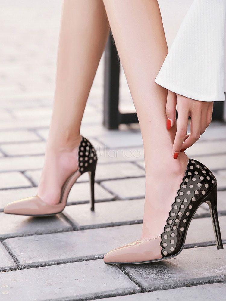 Chaussures à talons à talons aigus en PU bicolore mocassin de polyuréthane    PU bda0f2042d89