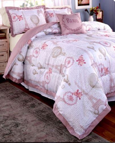 Bedding Queen Or King Size Pink Comforter Set Paris Eiffel Tower