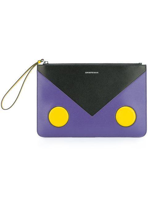 EMPORIO ARMANI Colour-Block Clutch.  emporioarmani  bags  leather  clutch   hand bags   8b71fef8125a2