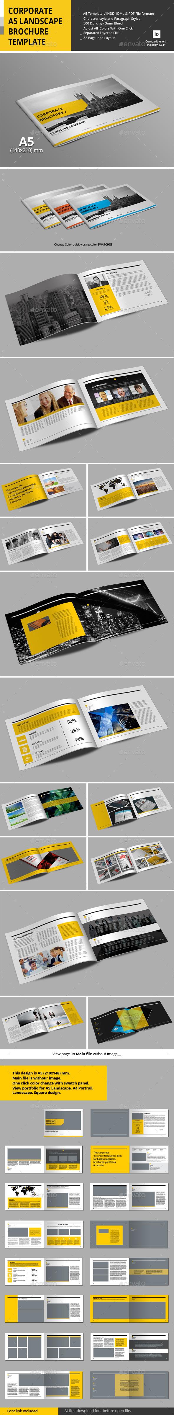Corporate A5 Landscape Brochure Template - Corporate Brochures ...
