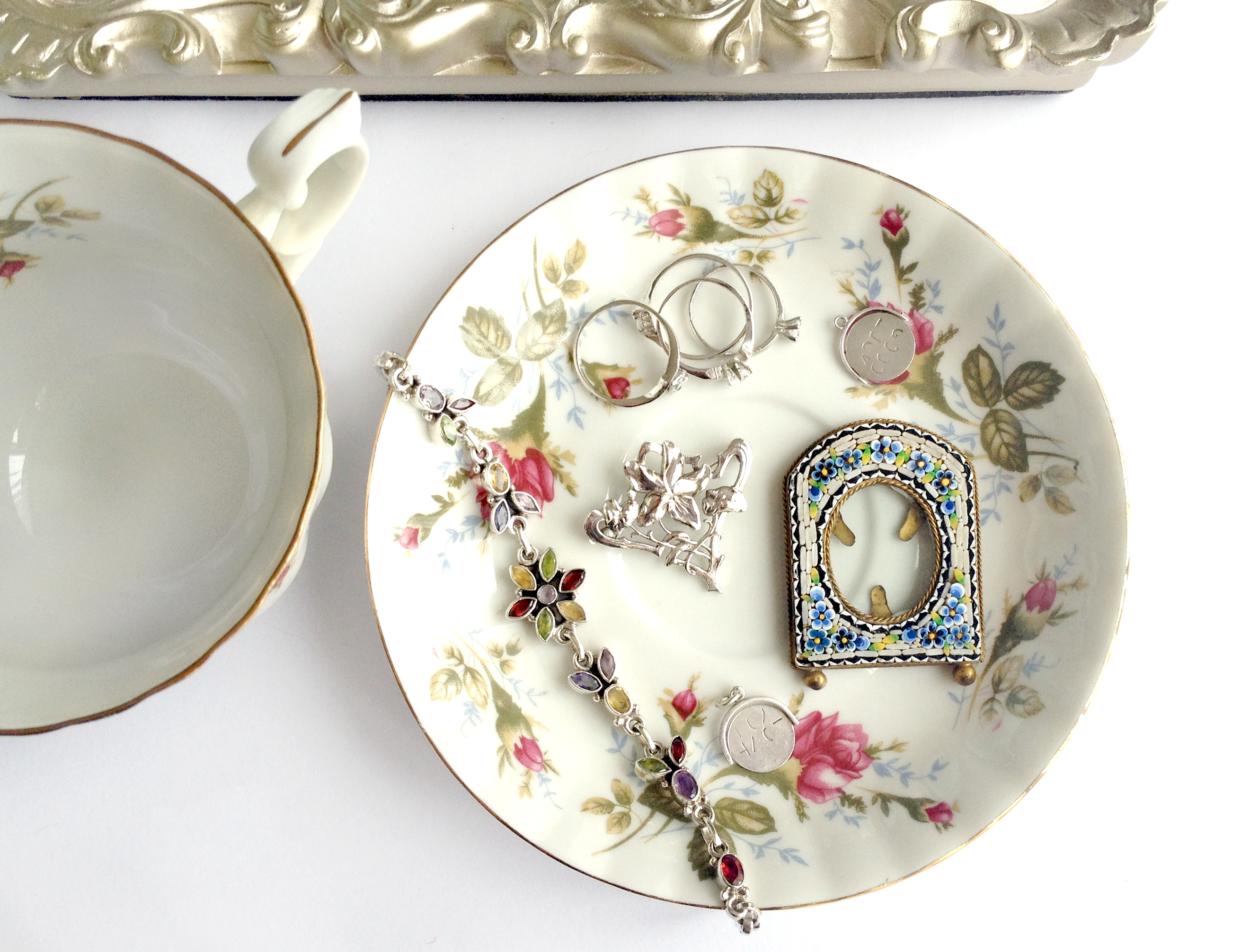 Floral tea cup and saucer with vintage jewellery- flower photoframe, silver brooch, spinners and cute rings! - Taupe  Pearl