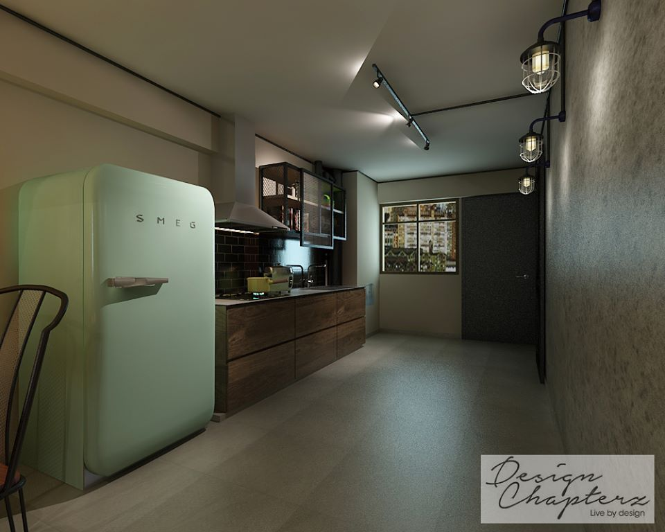 Design chapterz 3 room resale hdb industrial telok blangah for 3 room hdb flat interior design