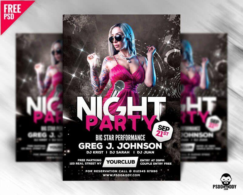 Free Club Flyer Templates Fresh Night Party Flyer Design Free Psd Psddaddy Club Flyer Template Flyer Template Free Free Psd Flyer Templates