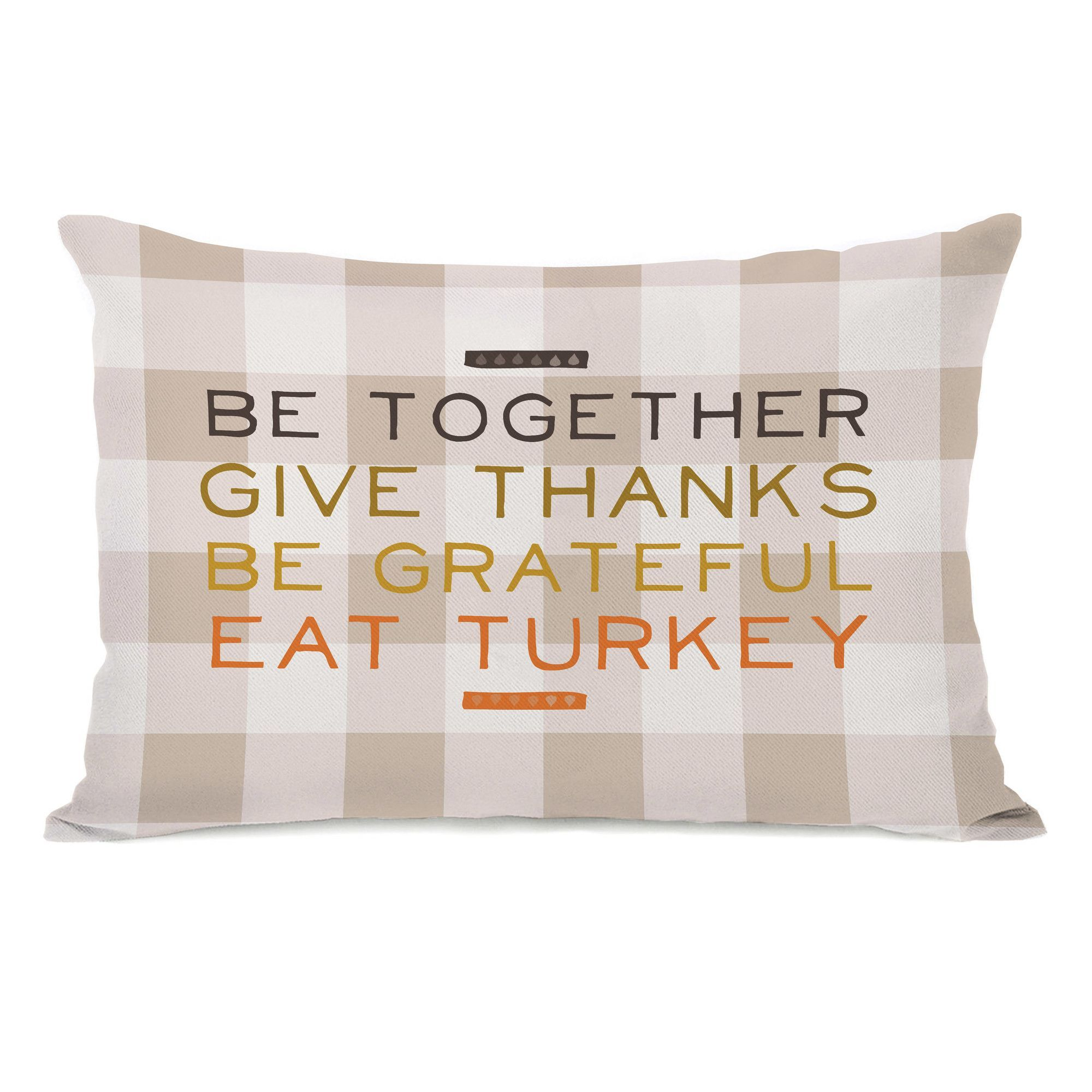 Eat Turkey Plaid Lumbar Pillow