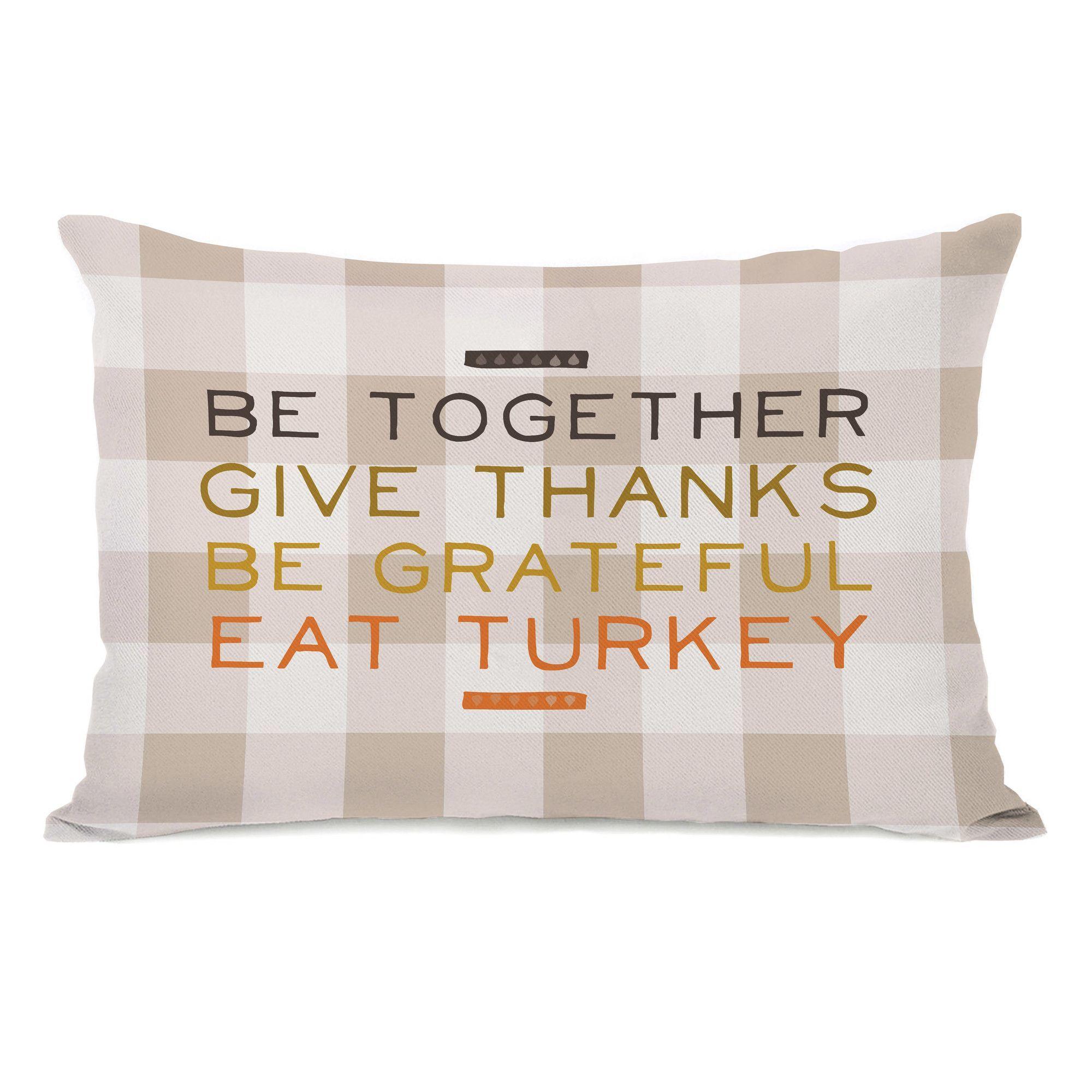 Eat Turkey Plaid Lumbar Pillow