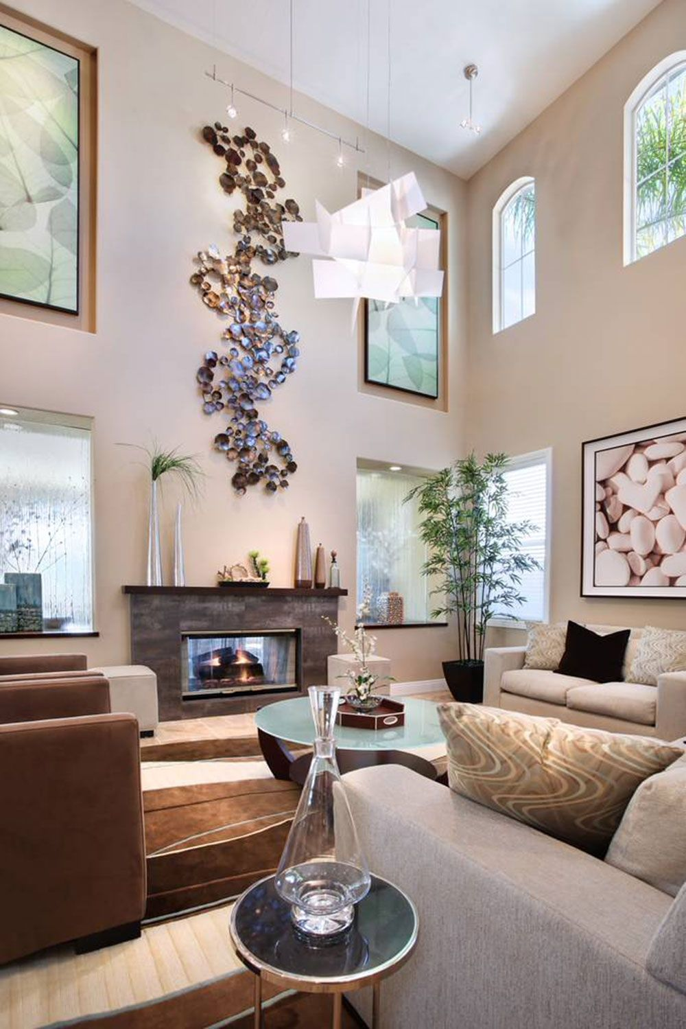 Perfect Tall Living Room Wall Decorating Ideas 91 In Indian Throughout Sizing 2400 X 1613 De High Ceiling Living Room Wall Decor Living Room Living Room Orange