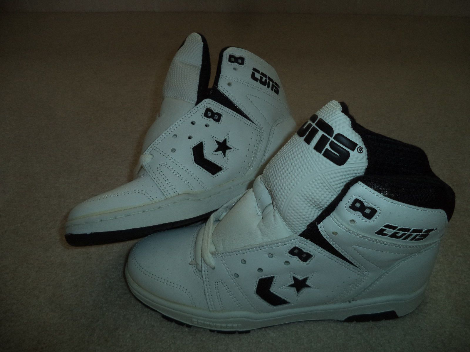 New Vintage 80s Converse Cons White Black High Tops Mens 8 5 with Box | eBay