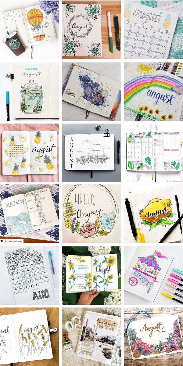 Oh wow! So many FABULOUS August cover page bullet journal ideas I'm torn as to which one to actually use in my BUJO! #bulletjournal #bujo #coverpages