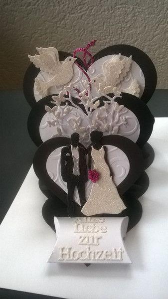 Hochzeitskarten - Glückwunschkarte zur Hochzeit Herz Aufstellerkarte - ein Designerstück von Petra1966 bei DaWanda