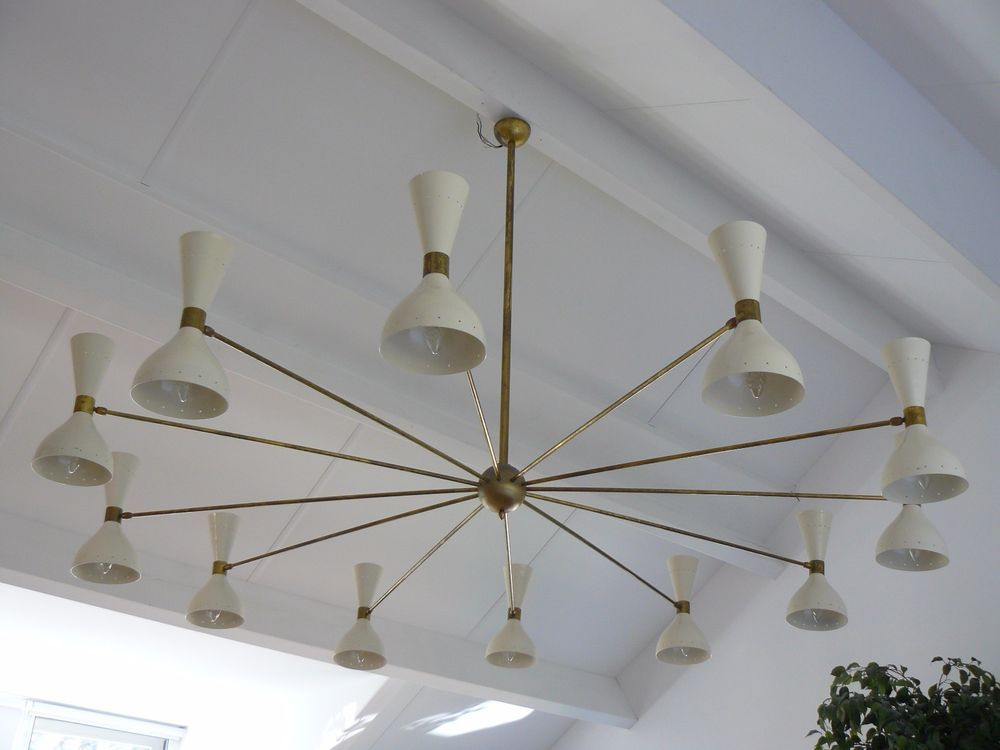Mid century 24 lights Italian STILNOVO ARREDOLUCE SPUTNIK chandelier Sarfatti & Mid century 24 lights Italian STILNOVO ARREDOLUCE SPUTNIK chandelier ...
