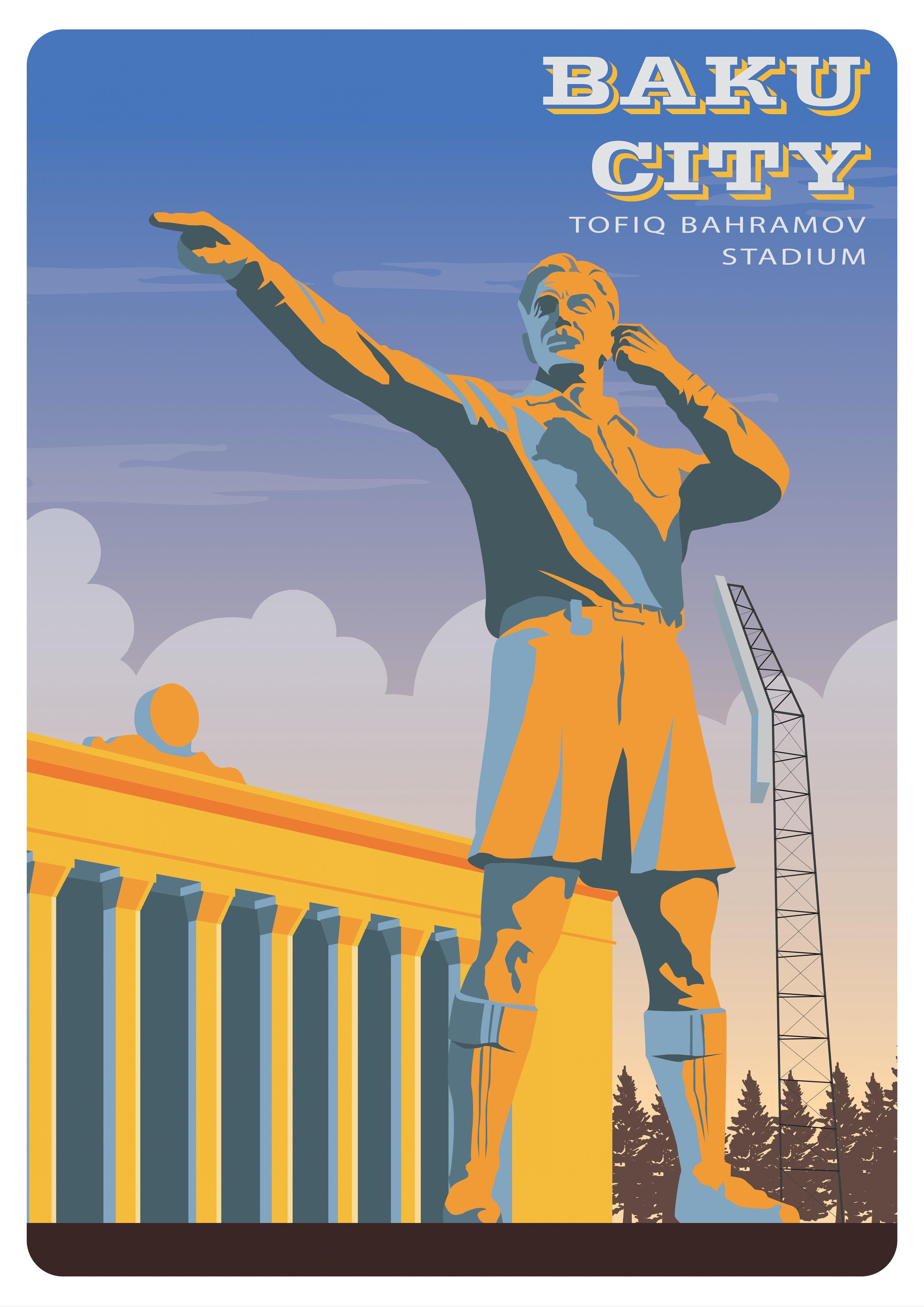 Baku City Retro Poster Tofiq Bahramov Stadium Retro Poster Poster Baku City
