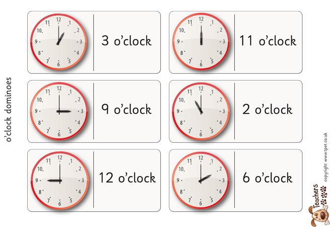 Teacher\'s Pet Displays » Time dominoes (o\'clock) » FREE downloadable ...