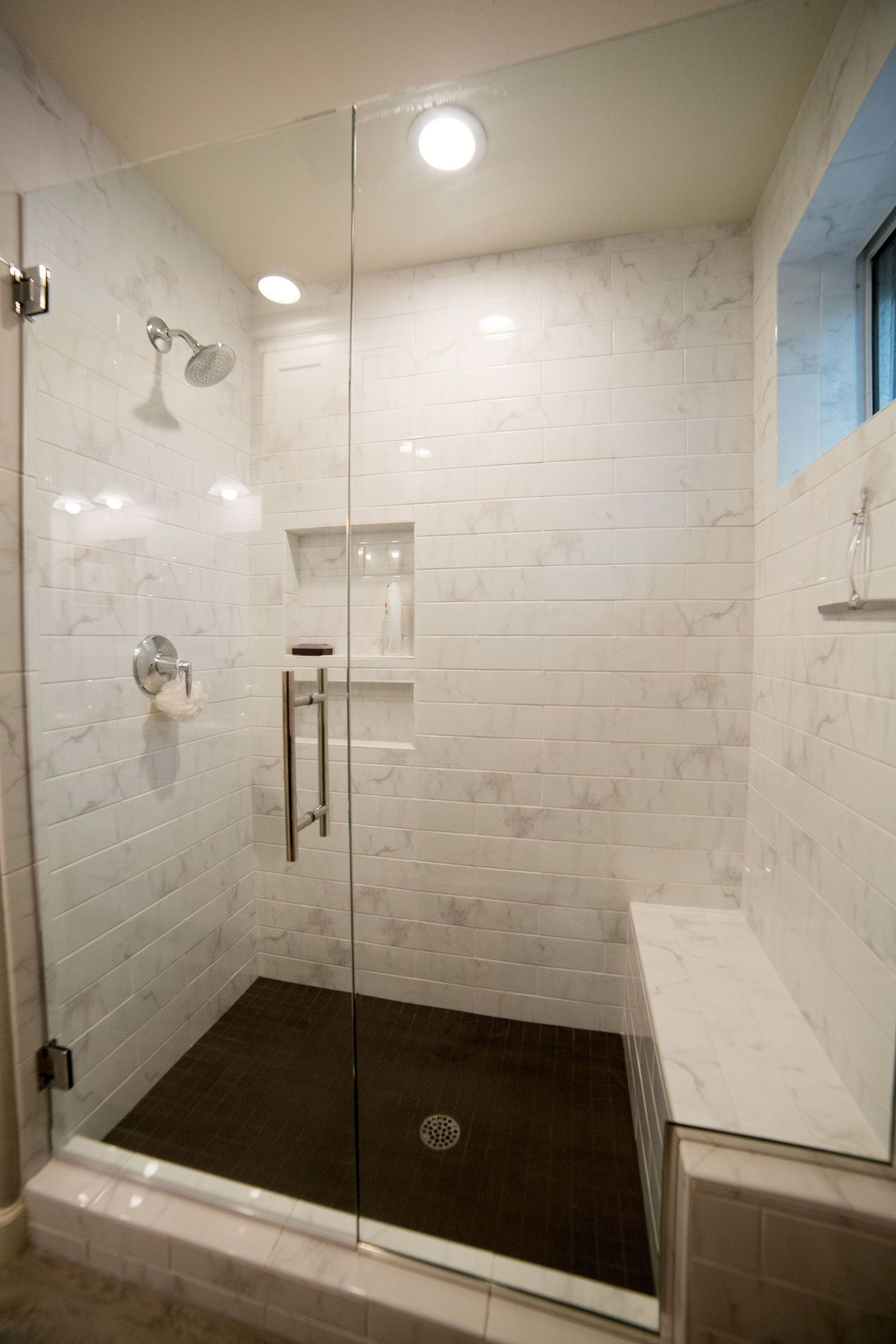 Polished Porcelain 4 X16 Tile With 2 X2 Tile At The Shower Floor Give This Guest Bathroom R Bathrooms Remodel Guest Bathroom Remodel Bathroom Remodel Gallery [ jpg ]