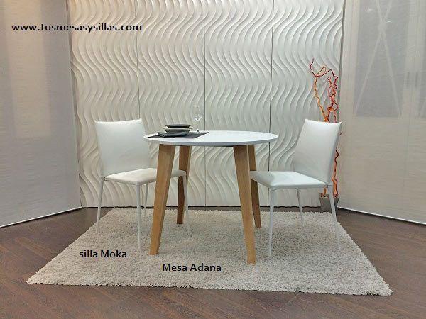 mesa redonda fija o extensible Adana para cocina o comedor y sillas ...