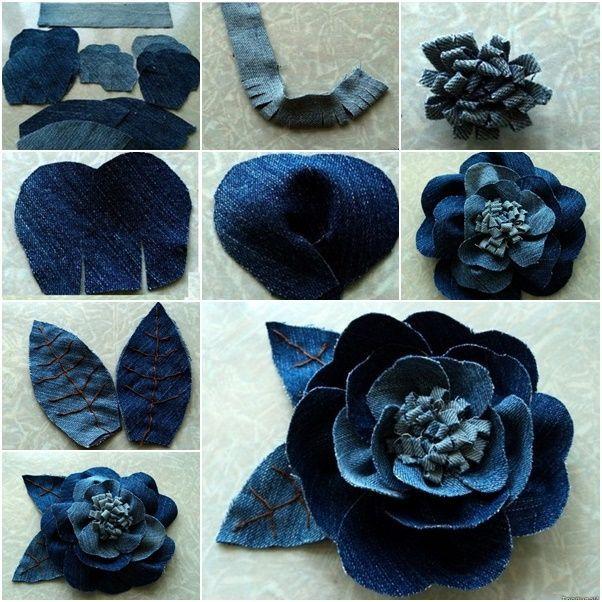 Wunderbare diy schöne rose blume aus jeans - Blumen Blog #fleursentissu