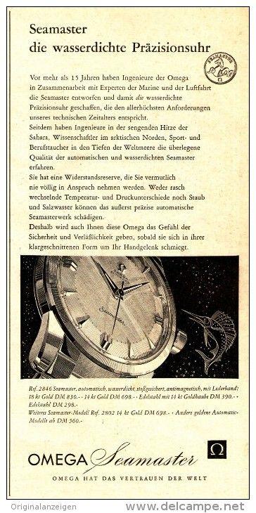 Original-Werbung/ Anzeige 1958 - OMEGA SEAMASTER ARMBANDUHR - ca. 130 x 250 mm