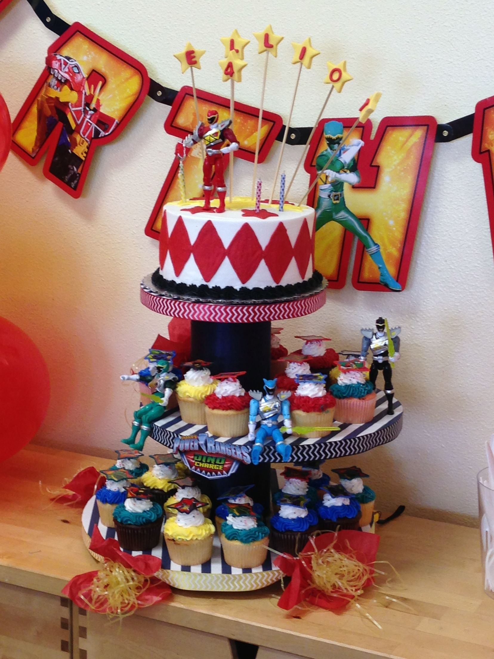 Power ranger dino charge cake and cupcakes with images
