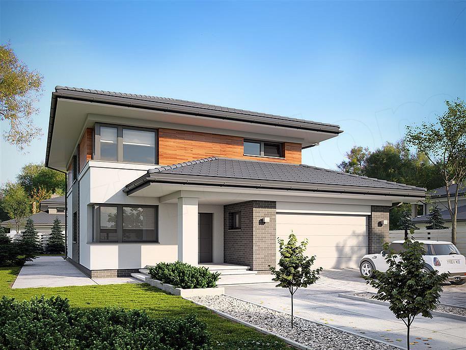 Projekt domu piętrowego Karo o pow. 188 m2 z obszernym garażem, z dachem koper… – Grundrisse