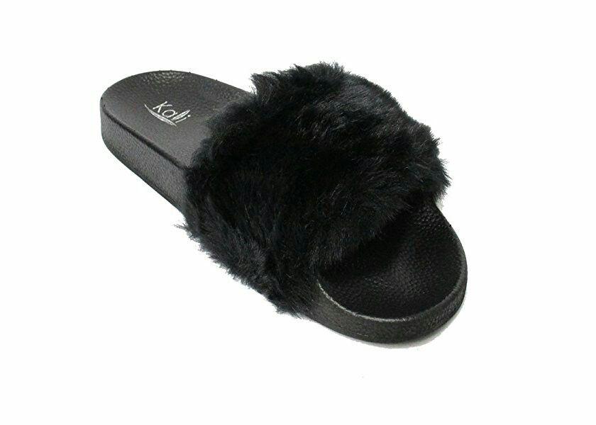 Kali Footwear Color Black Store Baya Beauty Supply Womens Faux Fur Flat Slipper Womens Flip Flop