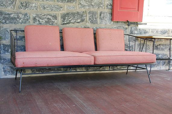 George Nelson Style Wrought Iron Sofa By Midcenturymasters On Etsy