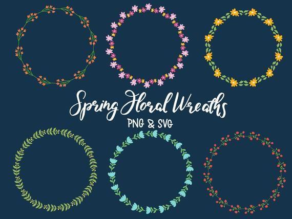 Photo of FLORAL POWERS, hand drawn wreaths, doodle clip art, floral wreaths, rustic, drawn wreaths, SVG, vector wreaths, wedding, minimal
