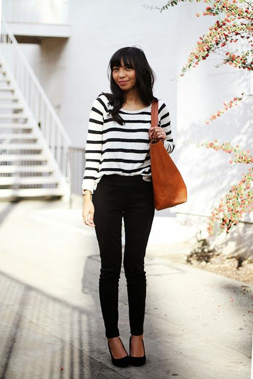 B&W stripes and ponte pants