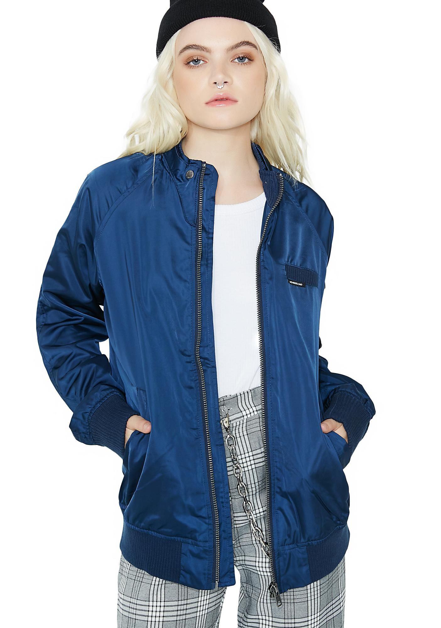 Royal satin boyfriend bomber jacket
