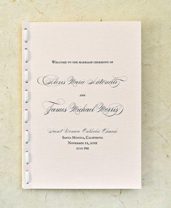 Modern Vintage Wedding Program In Metallic By