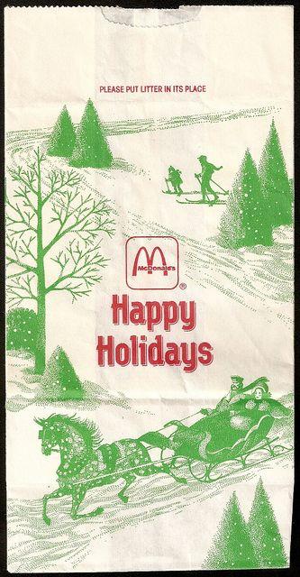 1990 Mcdonalds Happy Holidays Bag 80s 90s Food Drinks