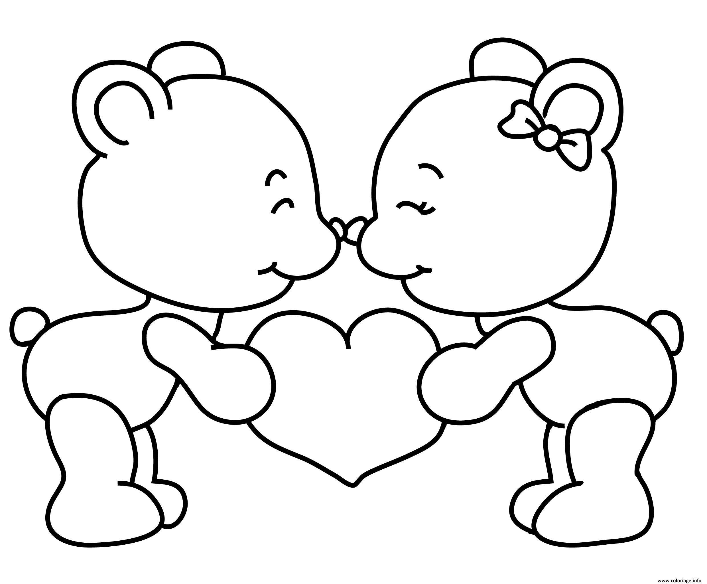 Coloriage teddy nounours st valentin amoureux à imprimer  Fruit