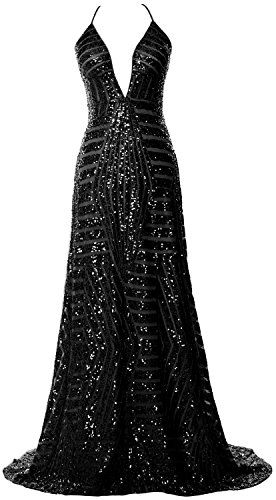 4b1e98f06c9a MACloth Women Deep V Neck Sequin Long Prom Dress Sexy Formal Party Evening  Gown (UK26, Black). UK prom dresses. Prom dresses. It's an Amazon affiliate  link.
