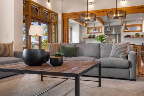 Classic Styles Merge With Rustic Contemporary In This Tailored Living Room.  Designed By Michelle