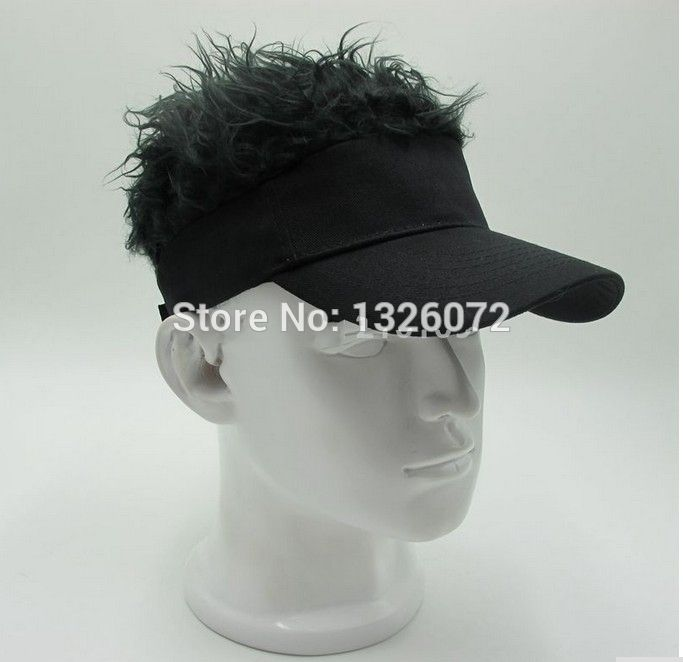 Hot Fashion Novelty Baseball Cap Fake Flair Hair Sun Visor Hats Man s  Women s Toupee Wig Outdoor 70170adcbc5