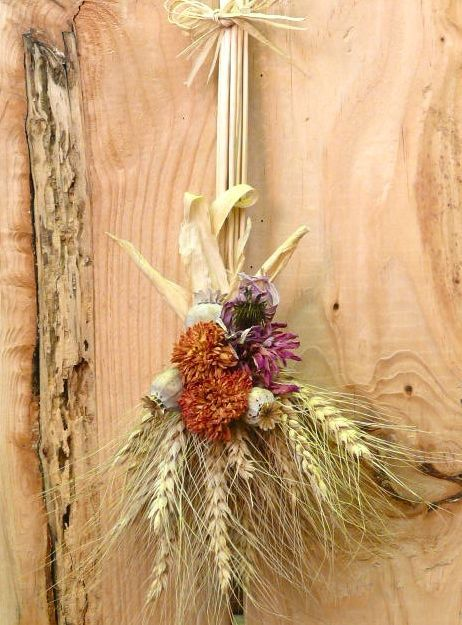 Harvest Wheat Brooms Embellished With Dried Garden Flowers Pagan Crafts Fall Harvest Holiday