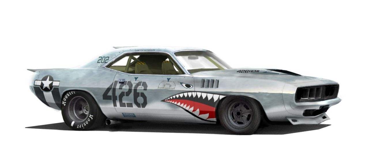 426 Aaron Beck Barracuda Hemi Plymouth Illustration Nose Art