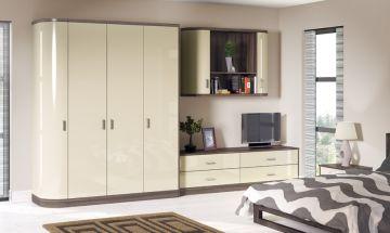 Wardrobe High Gloss Mussel Dark Wood Cream Bedroom Furniture Fitted Bedroom Furniture Top Furniture Stores