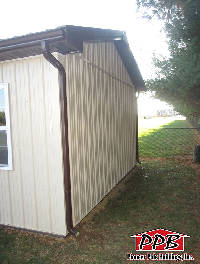 Gable 2 - 1' Overhangs with Gutter and Downspouts http://pioneerpolebuildings.com/residential/project/16-w-x-24-l-x-8-4-h-id-459-total-cost-contact-us