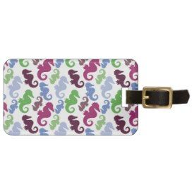 Seahorses Pattern Nautical Beach Theme Gifts Luggage Tags