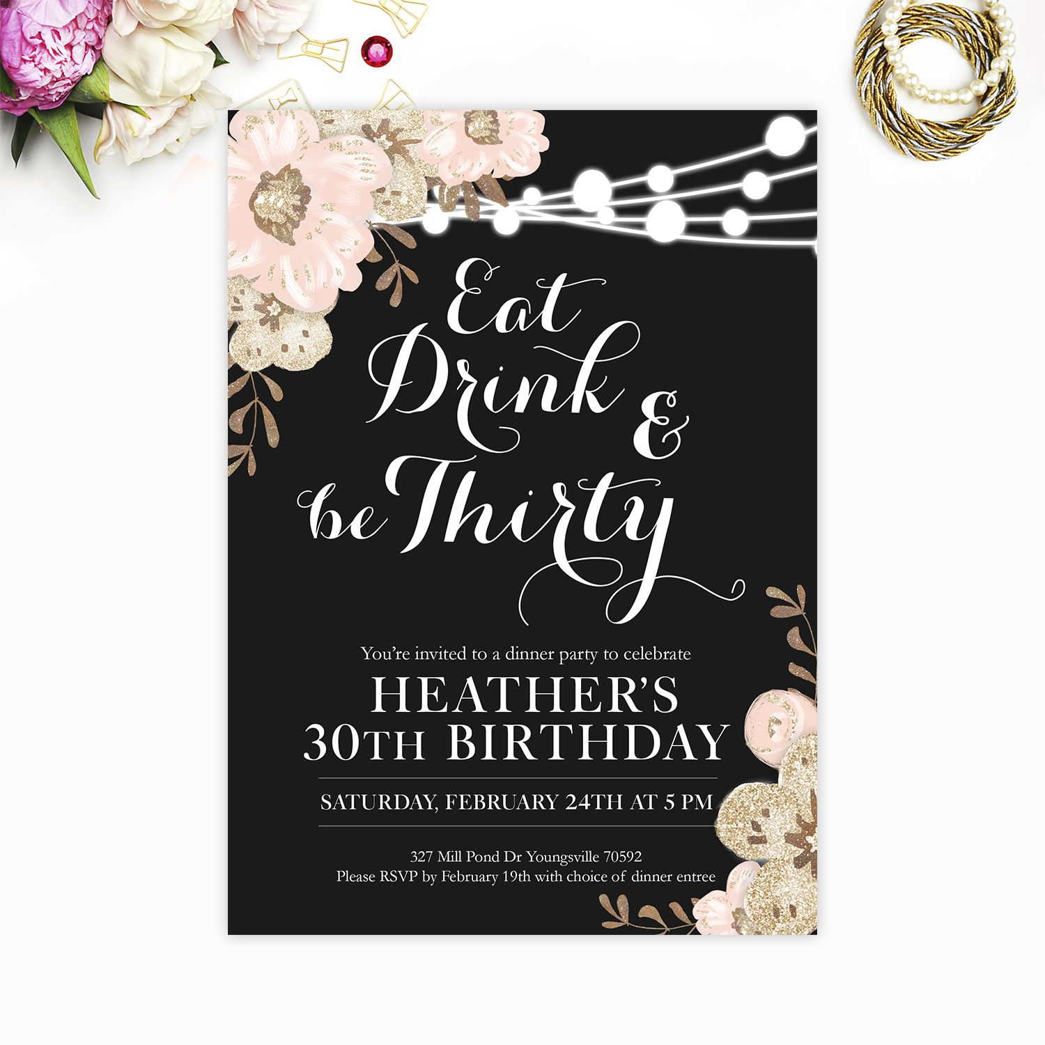 30th Birthday invitation, Eat Drink and be Thirty, Thirtieth ...