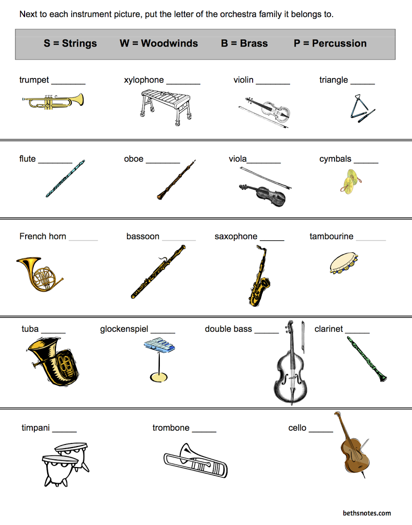 Orchestra Instruments - 3rd grade - Beth\'s Notes | Teaching Music ...