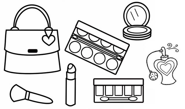 Glitter Makeup Printable Coloring Page 595x421 Makeup Kit Coloring